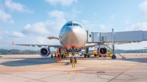 Commercial jet airliner on runway for line maintenance